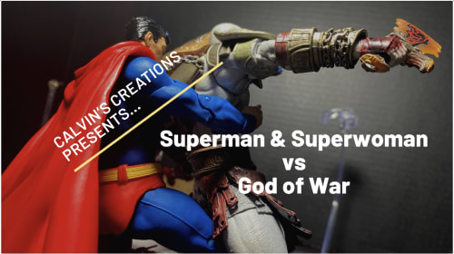 Superman and Superwoman vs Kratos: God of War.