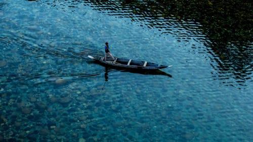 Umngot River in Dawki, Meghalaya, India