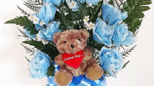 Blue Flowers and Teddy Bears
