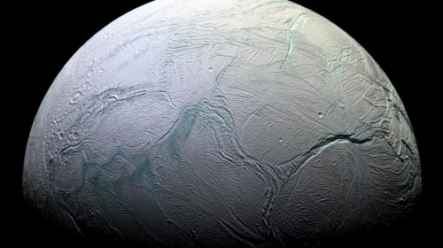Enceladus' Ice-Covered Ocean Closer to Surface Than Previously Thought