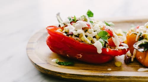 Grilled Peppers with Corn and Cheese Followed by Delicious Spice Tea