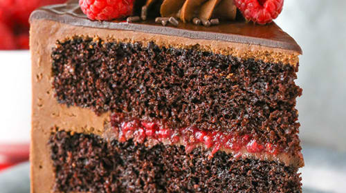 Fantastic Chocolate Raspberry Cake with Chocolate Whipped Cream Frosting and Spiced Coffee