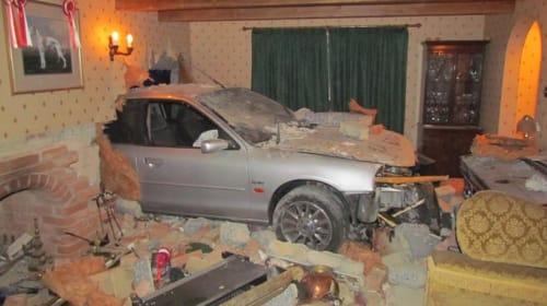 Crashes Through Houses