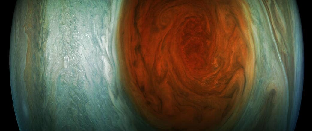 This enhanced-color image of Jupiter's Great Red Spot was created by citizen scientist Jason Major using data from the JunoCam imager on NASA's Juno spacecraft.The image was taken on July 10, 2017 at 07:10 p.m. PDT (10:10 p.m. EDT), as the Juno spacecraft performed its 7th close flyby of Jupiter. At the time the image was taken, the spacecraft was about 8,648 miles (13,917 kilometers) from the tops of the clouds of the planet.Image & Caption by NASA/JPL-Caltech/SwRI/MSSS/Jason Major
