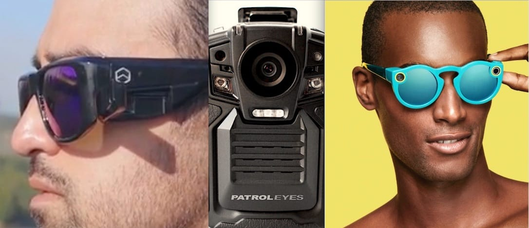 Omni Wearables' FaceShot video-enabled sunglasses (left) and Snap Inc's Spectacles (right) are some of the latest in wearable tech. Both could play a role in monitoring disputes between citizens and police, whose embrace of the body camera (center) has been anything but consistent. (Body cam image source)