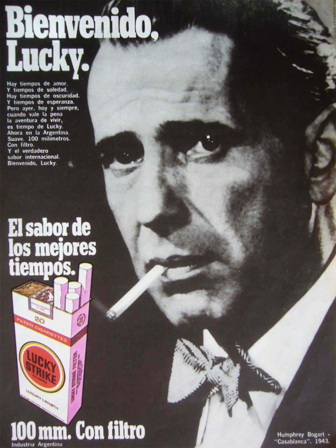 Lucky Strike Cigarette Ad featuring Humphrey Bogart