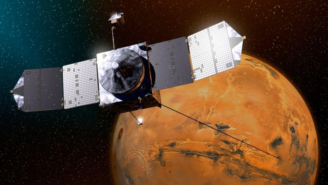 Artist's illustration of MAVEN in orbit around Mars. Image by NASA