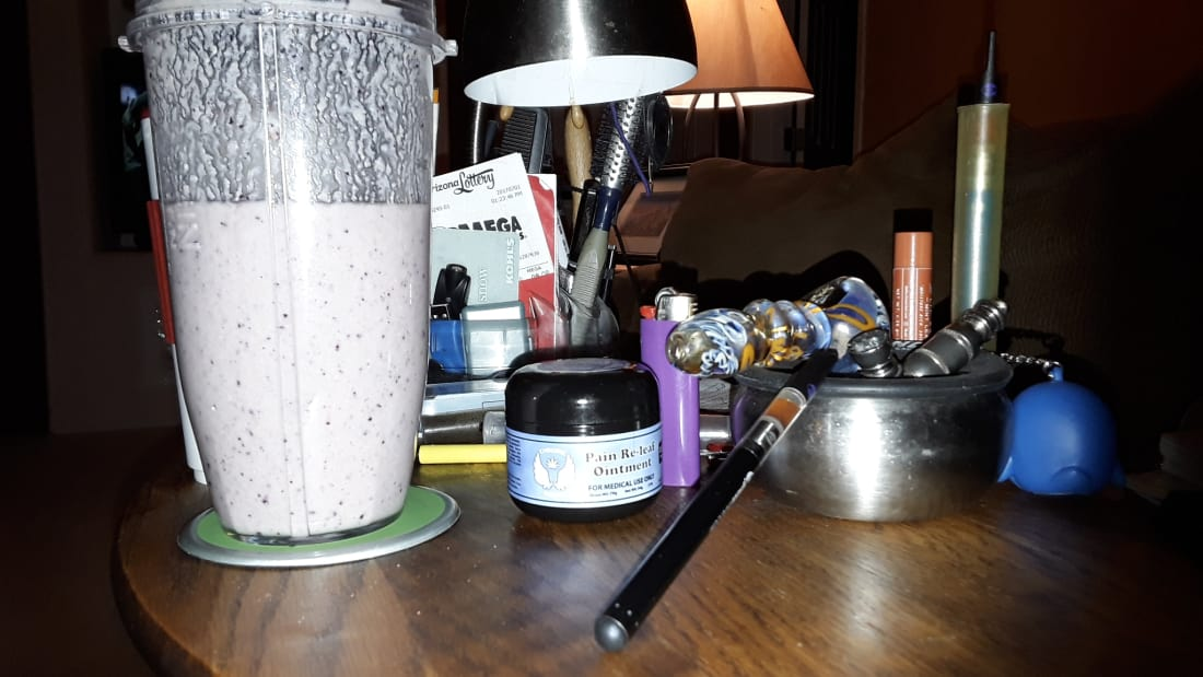 My anti-inflammatory smoothie, vapes, bud-pipe, hash-pipe, and cannabis based salve!