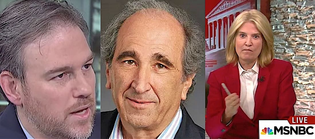 """Bret Stephens, Andrew Lack and Greta Van Susteren: The progressive cabler that once defined itself as the """"Lean Forward"""" channel has been bulking up on neoconservative personalities ... to go with the liberal personalities that are the network's brightest ratings stars. (Images: MSNBC and NBC)"""