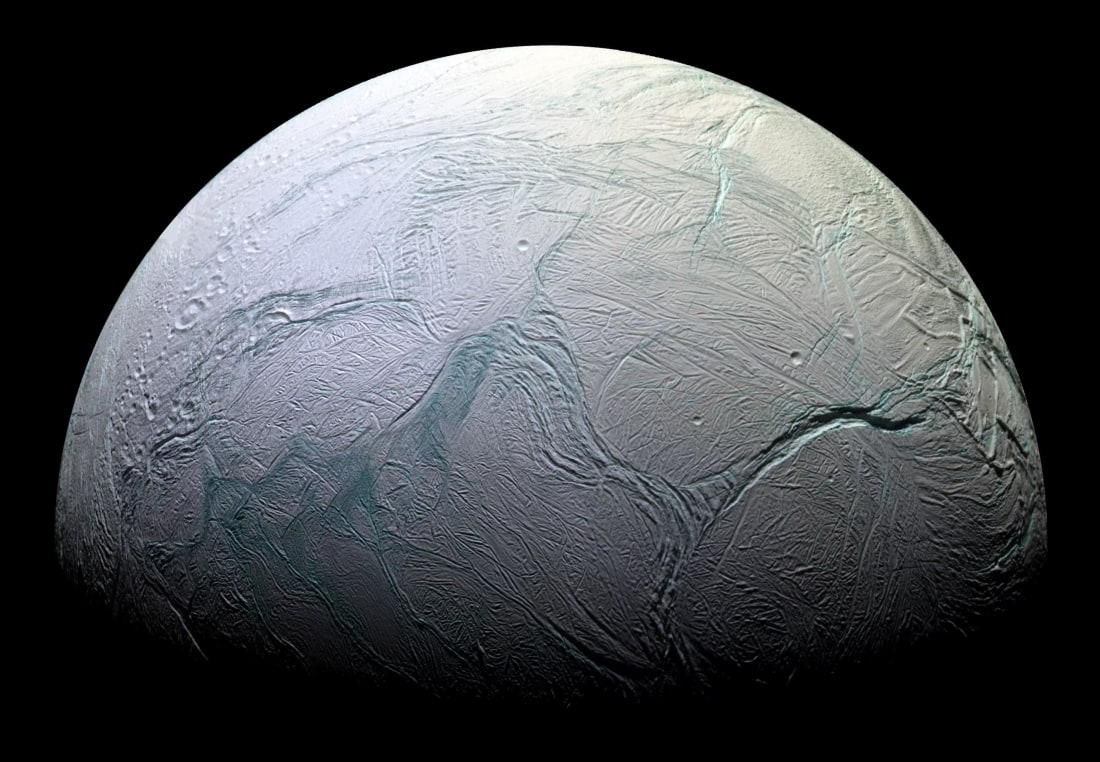 Enceladus as seen by Cassini. Photo by NASA/JPL/Space Science Institute