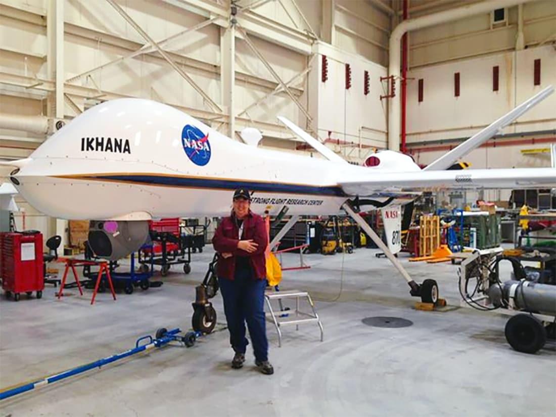 Trina Phillips visiting one of NASA's UAVs.