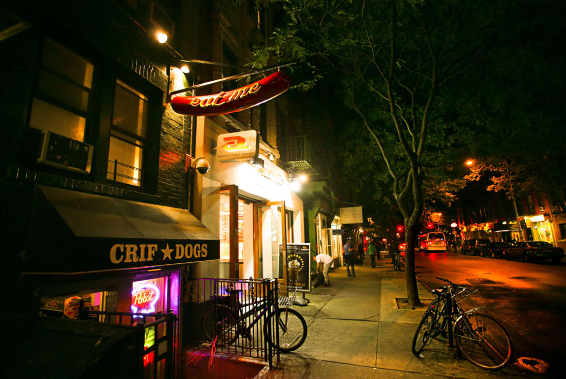 Crif Dogs diner, 113 St. Marks Place, East Village, New York City...