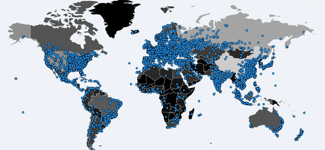 A world map depicting where computers were infected by WannaCrypt ransomware as of 05/14/17. Image via MalwareTech.com