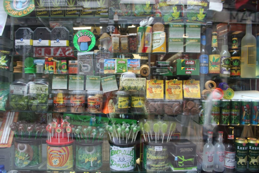 Edible cannabis products in a storefront in Amsterdam