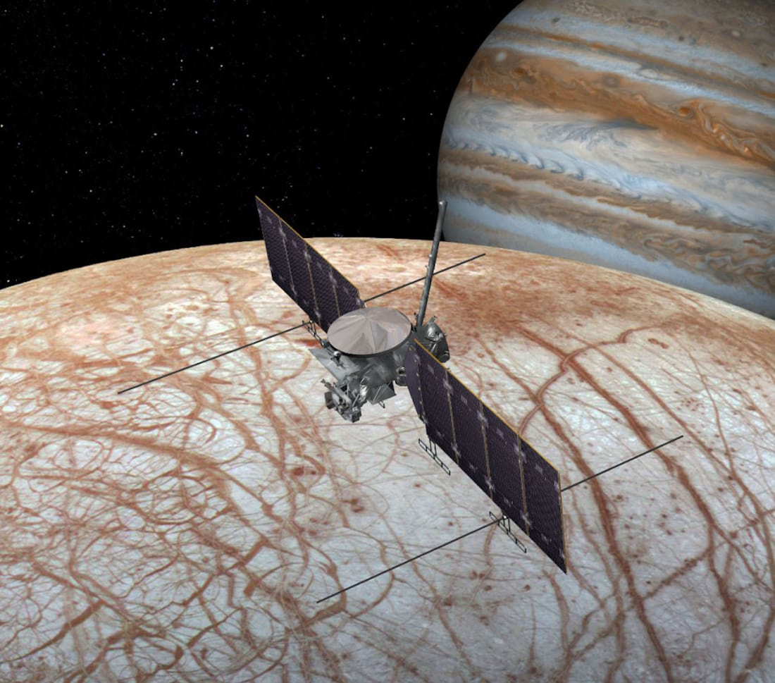 Artist's conception of Europa Clipper during a flyby of Europa. Image by NASA/JPL-Caltech