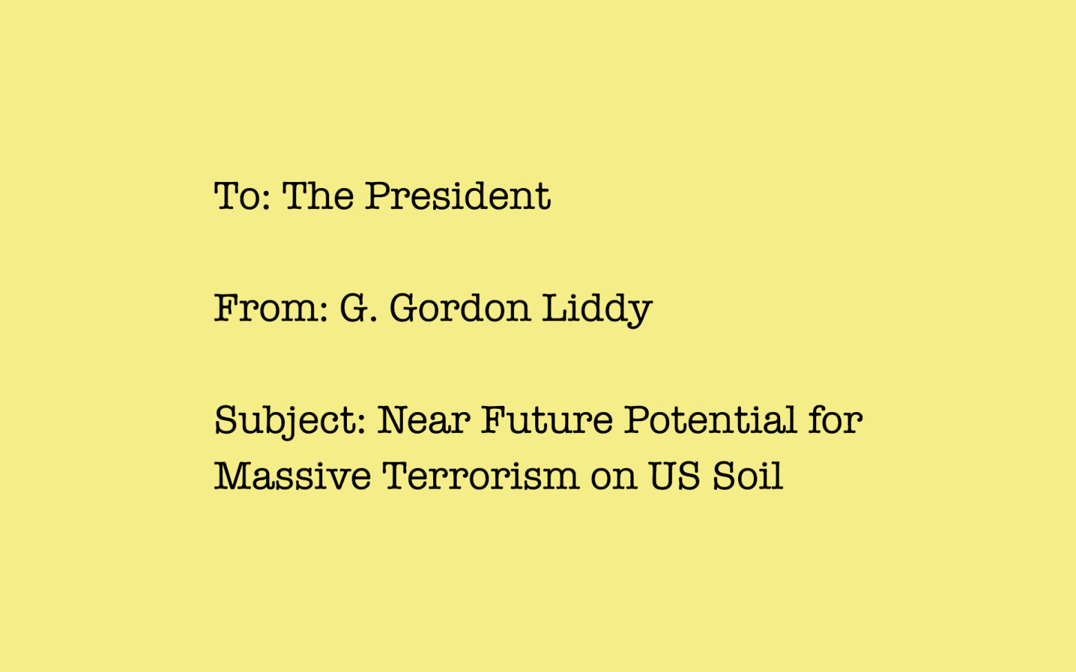 This Fictional Memo to the President from 1989 Predicted Terrorism in the US