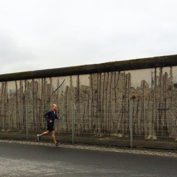 Enjoying an early morning run next to the Berlin Wall, March 2017