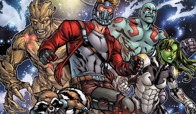 The Guardians of the Galaxy in Marvel Comic Book mode, already half-way to Space Opera. From left to right, Groot, Rocket Raccoon,  Peter Quill/Starlord, Drax, Gamora