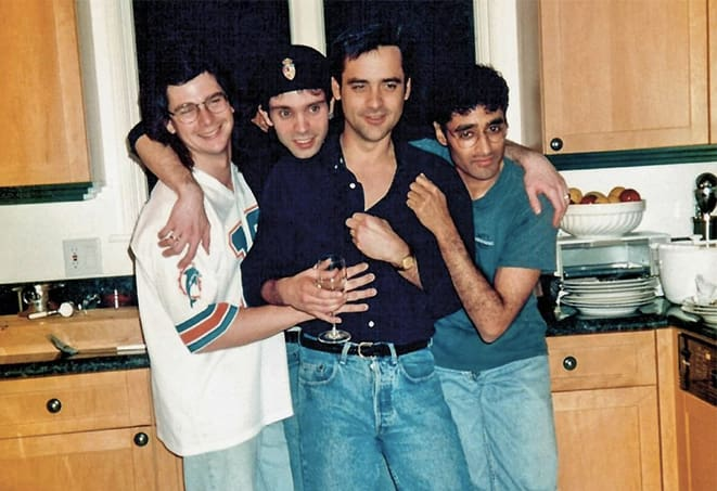 Naren Shanker (far right), Rene Echevarria, Brannon Braga, and Ron Moore.