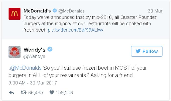 Fast Food Chain Wendy S Savage Tweet