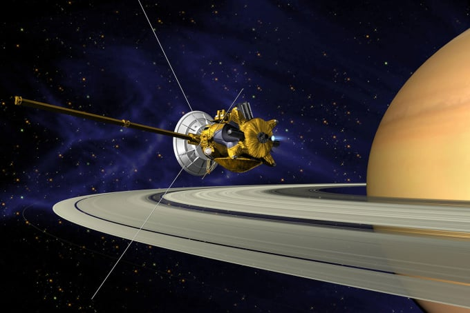 Cassini in orbit over saturn