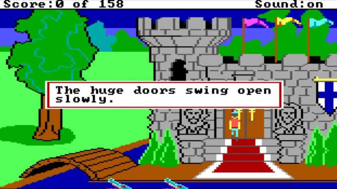 One of the first games to involve both text and graphics was King's Quest I.