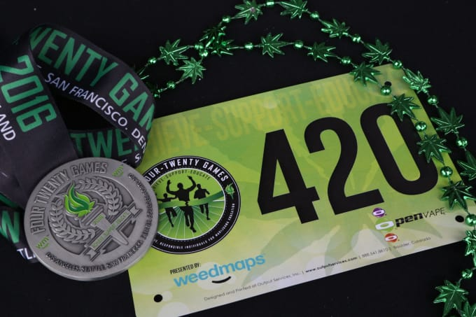 While the Games are oriented around fairly high-level athletics, it's also a fun event with some humorous touches . . . such as the universal '420' bib numbers.