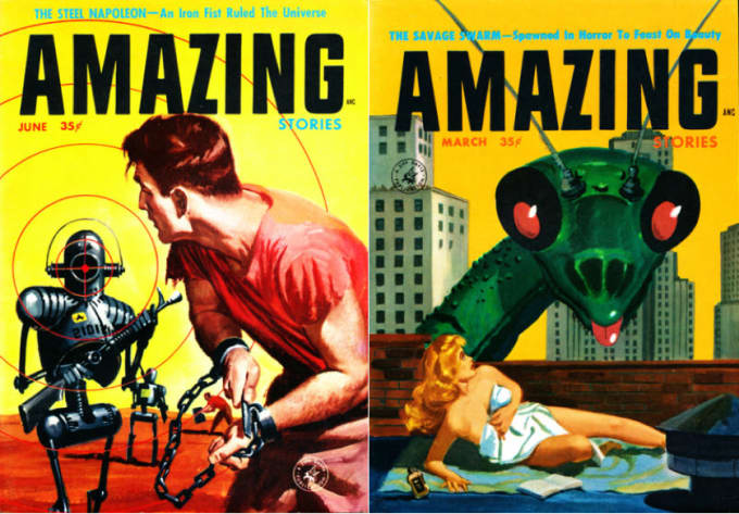 """(Ellison's 1957 novelette """"The Savage Swarm"""", cover-featured in   Amazing Stories, as well as """"The Steel Napoleon"""", which also took the cover of   Amazing are in Coffin Nails.)"""