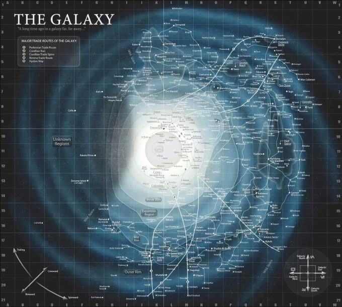 The Galaxy of Star Wars, an example of collaborative worldbuilding. From Star Wars, The Essential Atlas, by  Daniel Wallace and Jason Fry (2009 Del Rey)