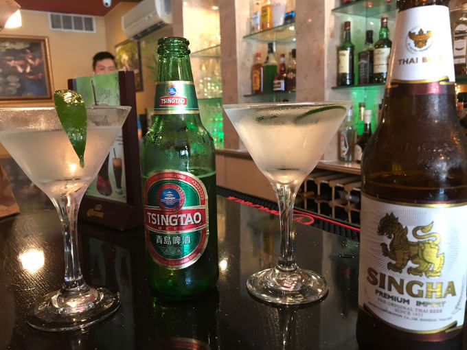 Asian pair martini, Tsingtao beer, Saketini, and the Singha beer