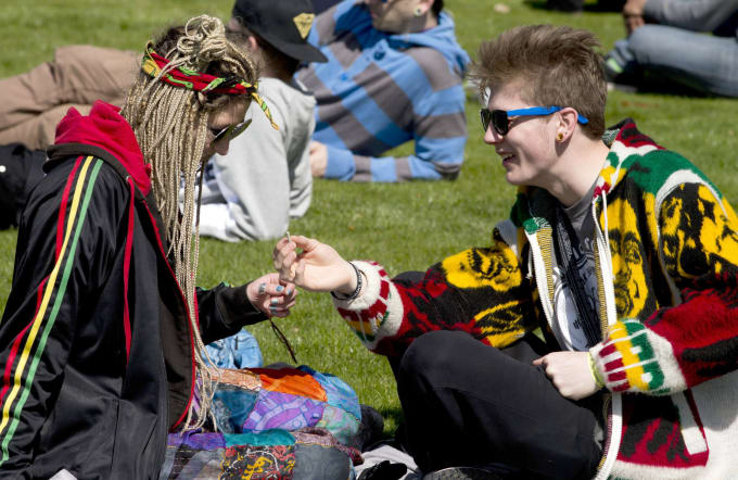 Teens enjoying the annual 4/20 day in Hyde Park, London