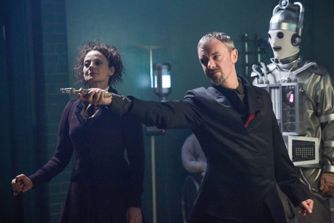 Missy (Michelle Gomez), The Master (John Simm), and a Mondasian Cyberman in a promo image from the episode.