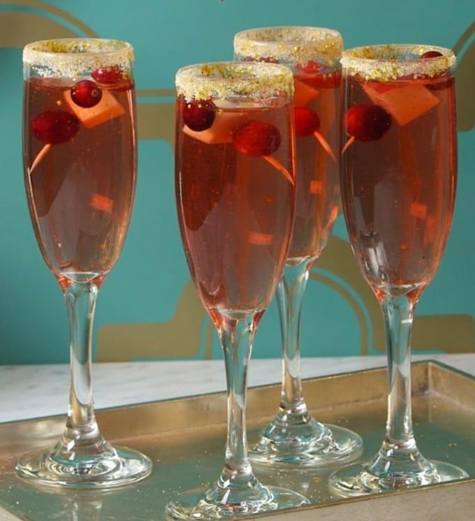 Glitter Cranberry Mimosas