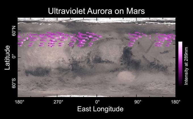 An aurora in Mars' northern hemisphere as seen in ultraviolet by MAVEN in December 2014. Image by University of Colorado