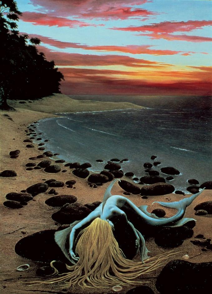 Illustration of mermaid on rocky beach