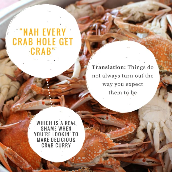 """""""Nah every crab hole get crab."""""""