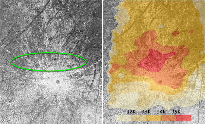 The region on Europa where the plumes originated (oval) compared to a heat map of the same region from the Galileo mission. Image Credit: NASA/ESA/W. Sparks (STScI)/USGS Astrogeology Science Center
