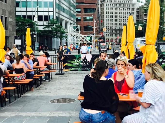 Grab some delicious food, adult drinks and enjoy the weather