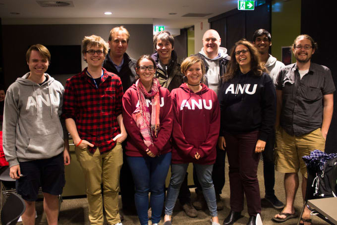 The ANU Planet 9 search team along with BBC Stargazing Live hosts Professor Brian Cox and comedian Dara O Briain. Photo Credit: ANU