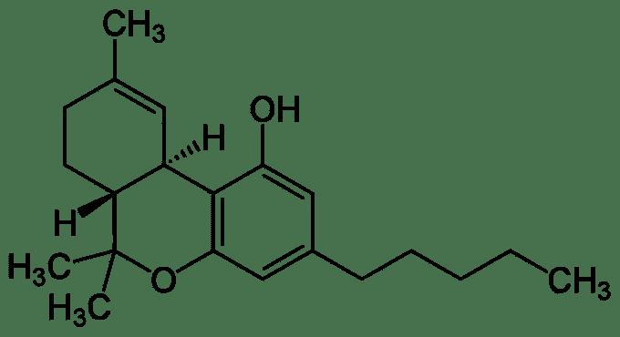 Tetrahydrocannabinol molecular structure
