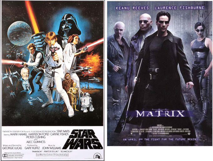 Two cinematic versions the hero's journey in science fiction; Luke Skywalker of Star Wars and Neo of the Matrix