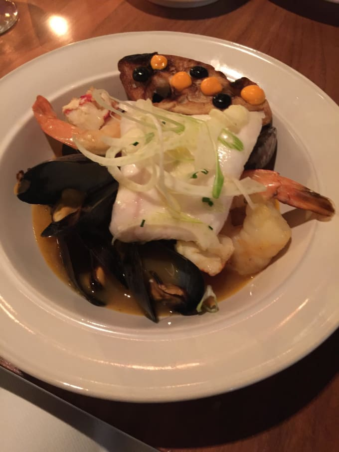 blue bay mussels, confit potatoes - bouillabaisse broth