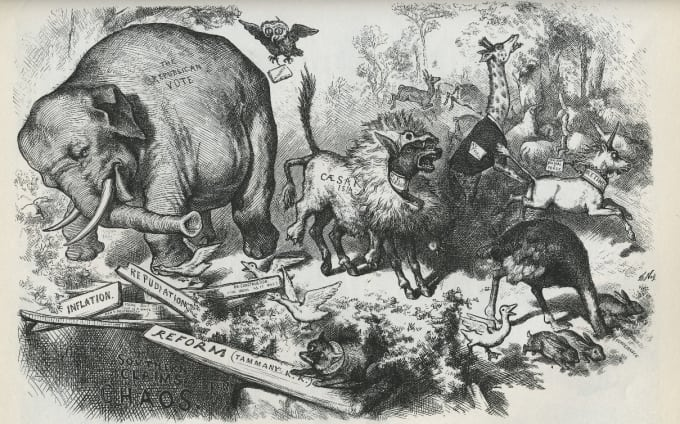 The origin of the Republican elephant had a cartoonish background.
