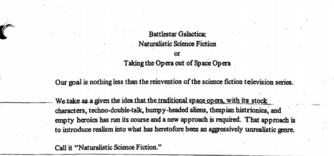 Excerpt from Ron Moore's Battlestar Galactica Series Bible.
