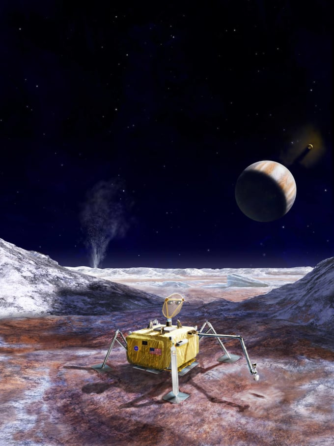 Artist's conception of the proposed Europa lander, with sampling arm extended. Image by NASA/JPL-Caltech