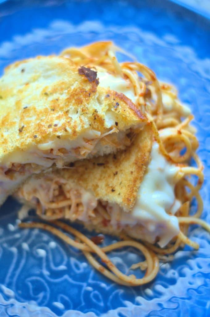 Garlic Bread Spaghetti Grilled Cheese