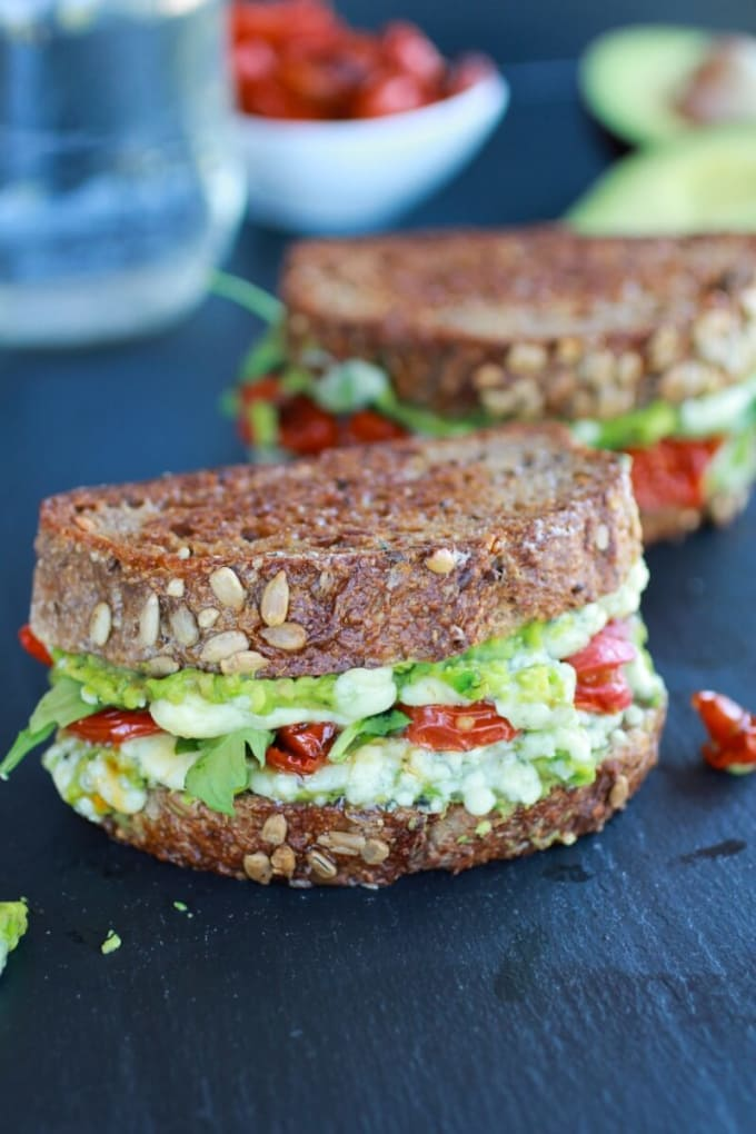 Smashed Avocado and Roasted Tomato Grilled Cheese
