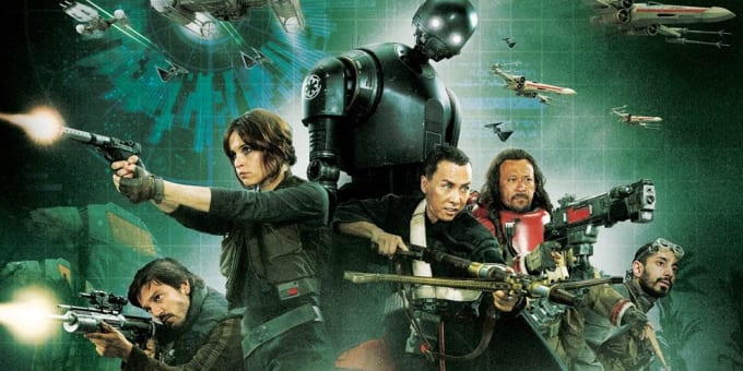 Rogue One's protagonists are just as important in their own way as those of the major Star Wars trilogies.  From left to right: Cassian Andor, Jyn Erso, K-2SO, Chirrut Îmwe, Baze Malbus, and Bodhi Rook