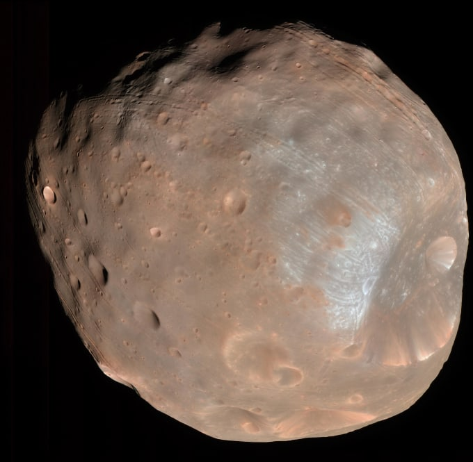 Phobos, the largest of Mars' two tiny moons. Photo by NASA/JPL-Caltech