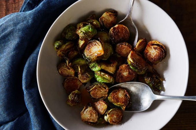 Fried Brussels Sprouts with Honey and Sriracha